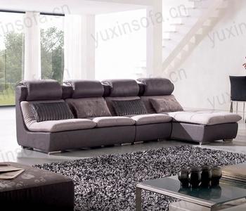 Wood And Fabric L Shape Sofa