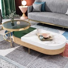 Home Furniture Sets Storage Round Wooden Coffee Table And Glass End Table