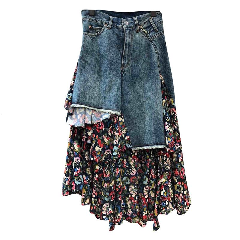 PT3855A Europe fashion style denim printed patchwork long irregular skirt