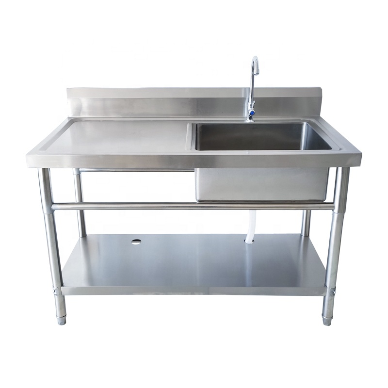 304 /201 High standard restaurant stainless steel commercial kitchen outdoor sink table