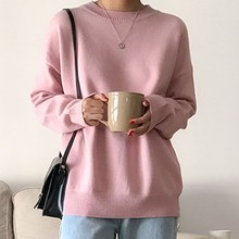 Женский вязаный свитер в стиле Харадзюку, Теплый розовый свитер в стиле ретро, Осень-зима 2020(Китай)