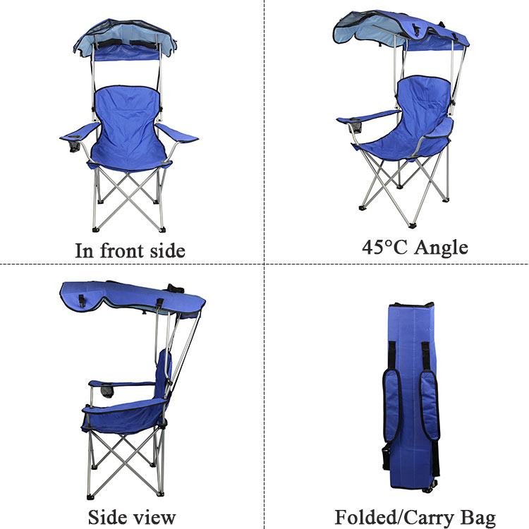 China Wholesale Camping Chair Beach Sunshade Folding Camp Chair Foldable with Canopy