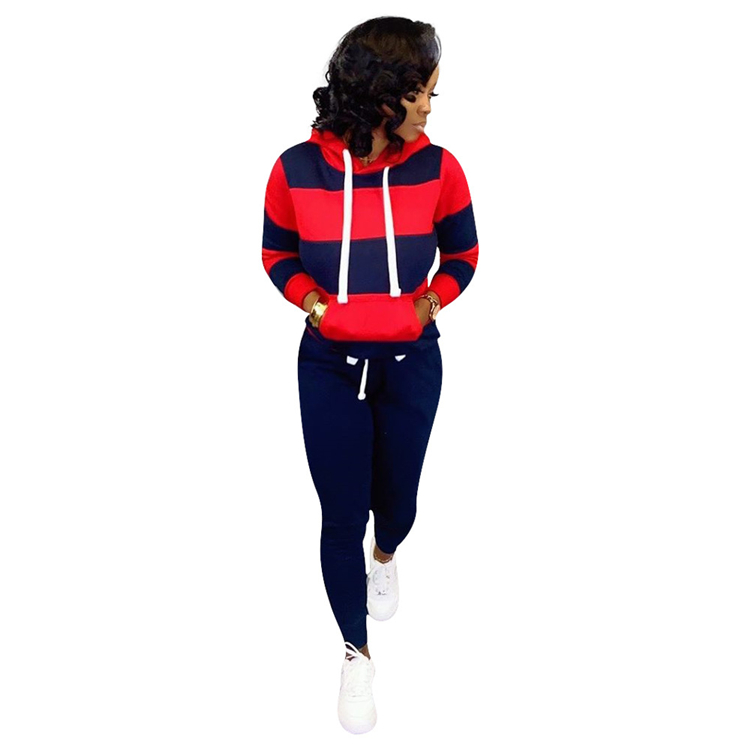 9091033 NEW autumn contrast color long sleeve hoodies casual sports two piece pants set women clothing