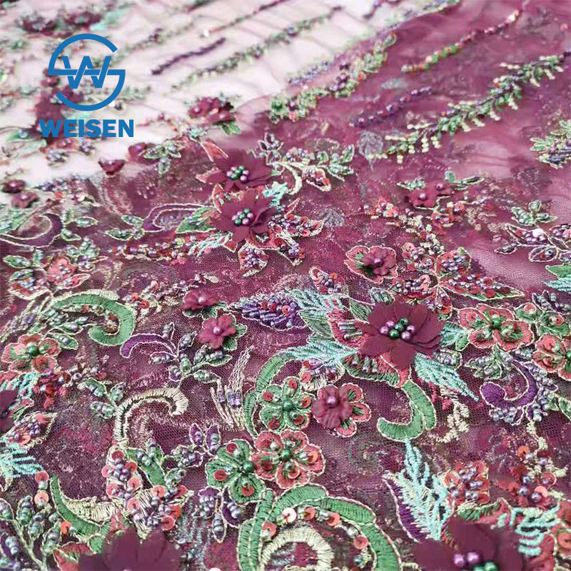 Handmade Embroidery Hand Net Bead Heavy Beaded Flower Luxury French Lace Fabric