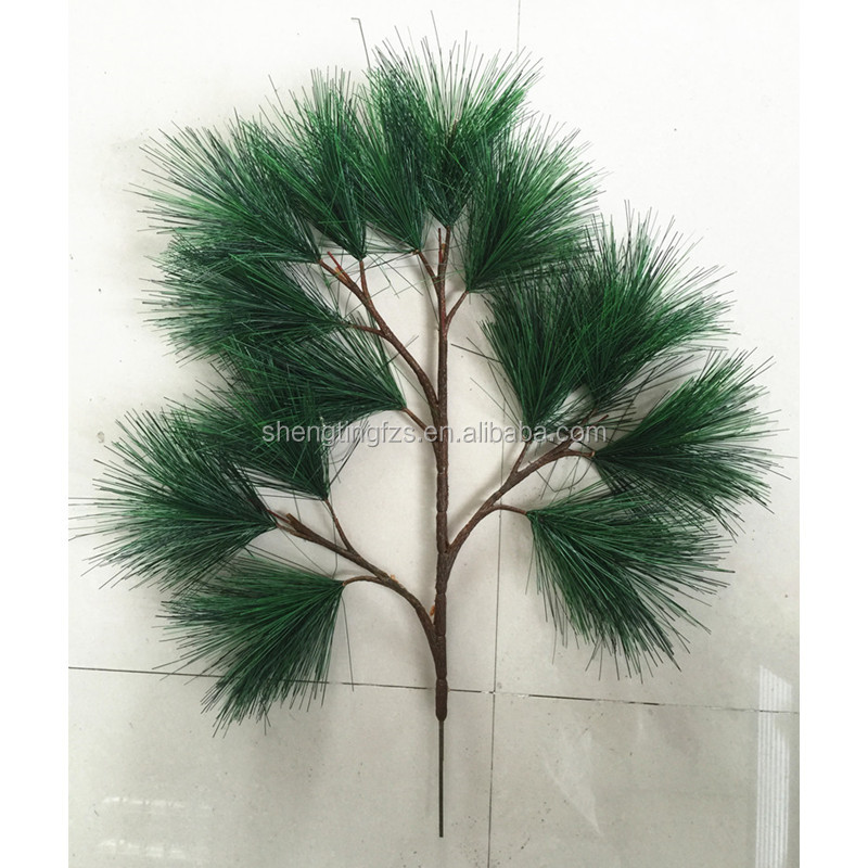 wholesale landscape garden decorative Plastic plants <strong>green</strong> Red fake <strong>artificial</strong> pine <strong>leaves</strong> and branch