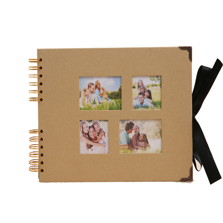 29.5*21cm 80 Page DIY Photo Albums with 4 Photos Windows Kraft and Black Covers Available Black Page Handmade Scrapbooking Ideas