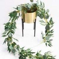 Wedding Decoration Cheap Hanging Faux Silk Artificial Silver Dollar Eucalyptus Greenery Leaves Garland