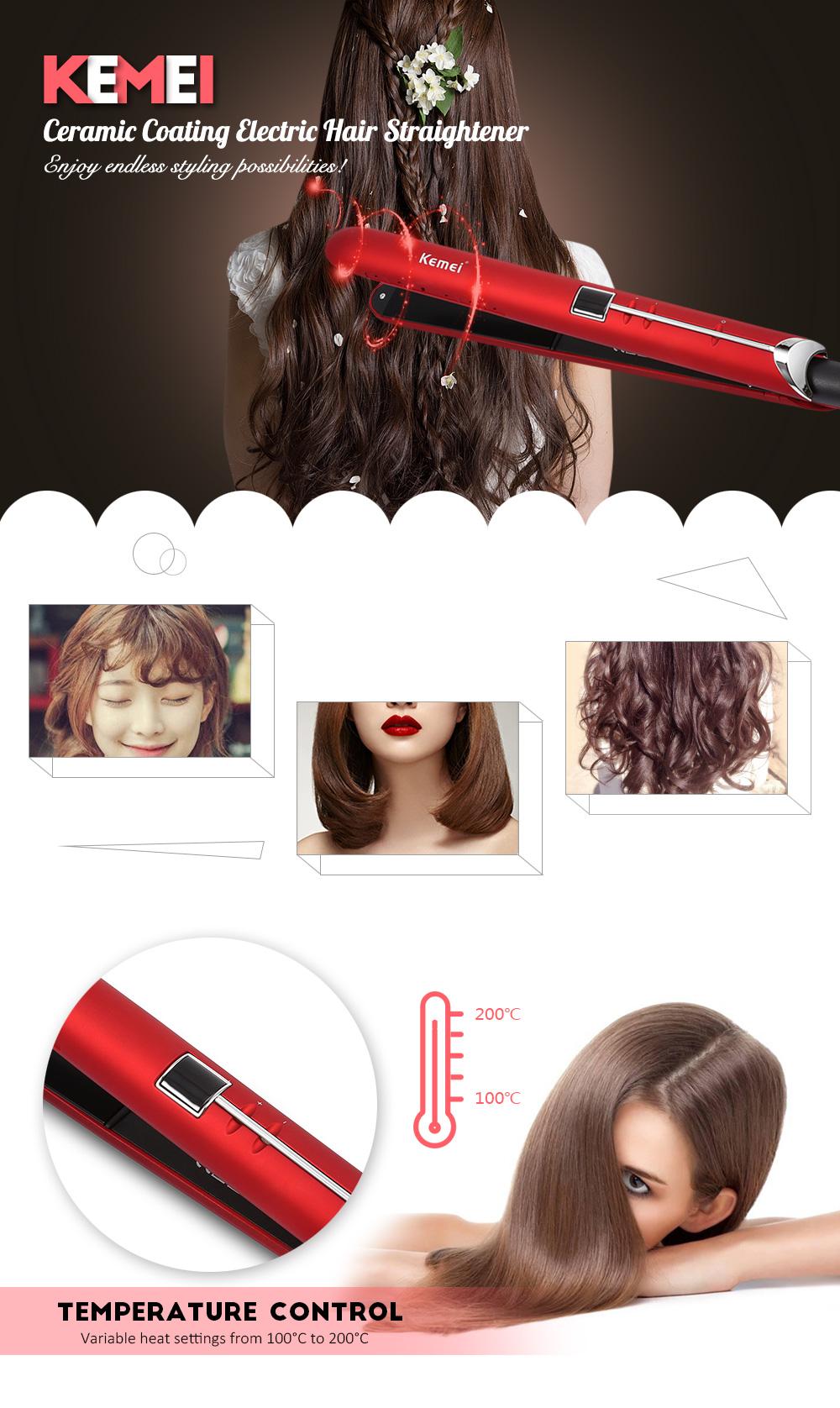 Kemei-2205 Professional Flat Iron Hair Straighteners for Women