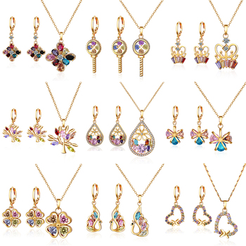 New style jewelry 18k gold plated colorful cubic zirconia wedding cheap necklace and earring sets
