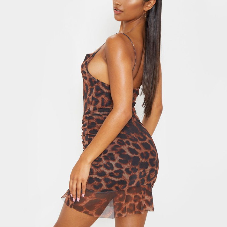 2020 Summer Sexy Brown Mesh Leopard Print Ruched Mini Bodycon Dress