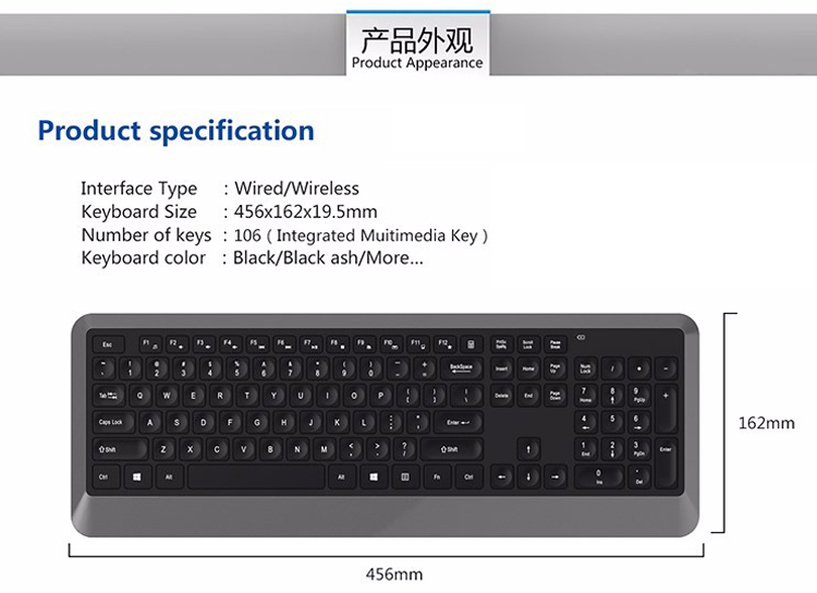 Fashion Ultra Thin 2.4Ghz Wireless Computer Keyboard English Arabic Layout