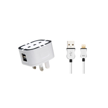 UK Adaptor & 2 Port USB Travel Charger Mini Adaptor Charge & Sync