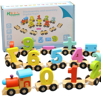 3D Wooden Educational Number Train Toys Digital Small Train Math Educational Toys Enlightenment Magnet Math Jigsaw Puzzles Block
