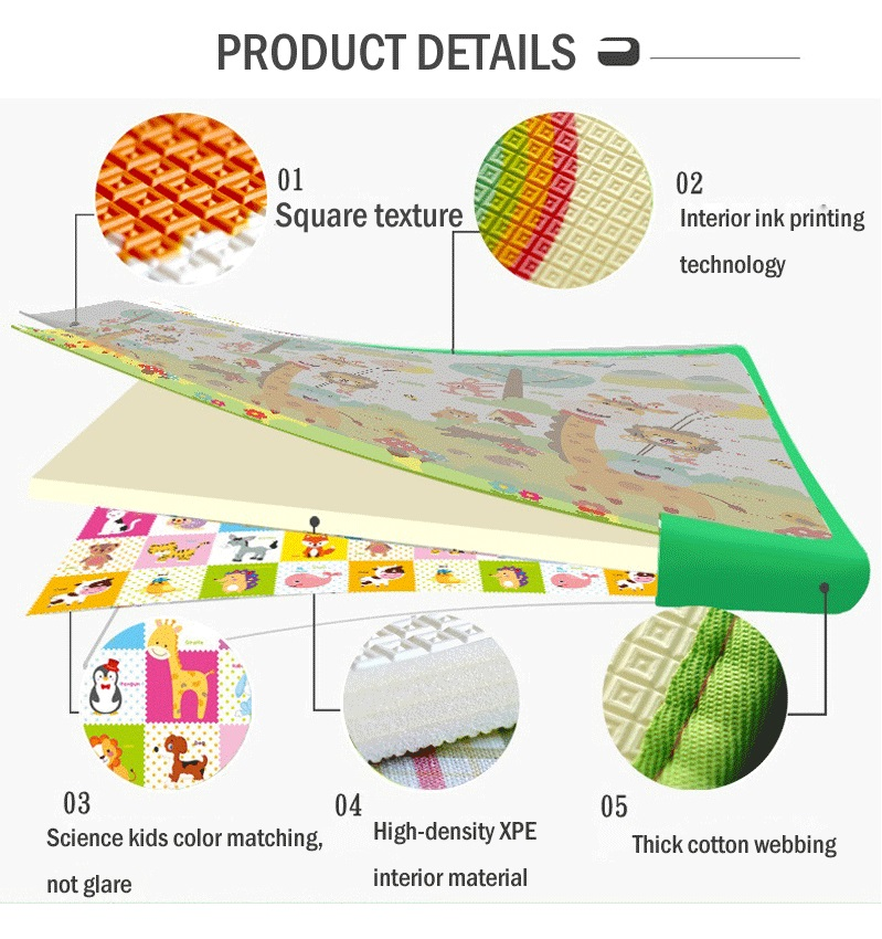 Double Side Design Eco Friendly Non Toxic Waterproof PE Foam soft baby play mat