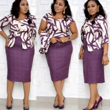 plus size african woman Clothes 2 Pieces Office Ladies Casual Floral Midi Dresses.