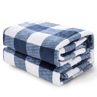Fluffy Warm Plaid Fleece Travel Size Throw Blanket For Sofa