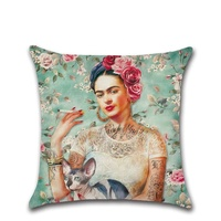 Amazon Ebay Cheap pillowcase Mexican Painter Slipcover Woman's Self-Portrait Avatar Decorative Cushion Cover