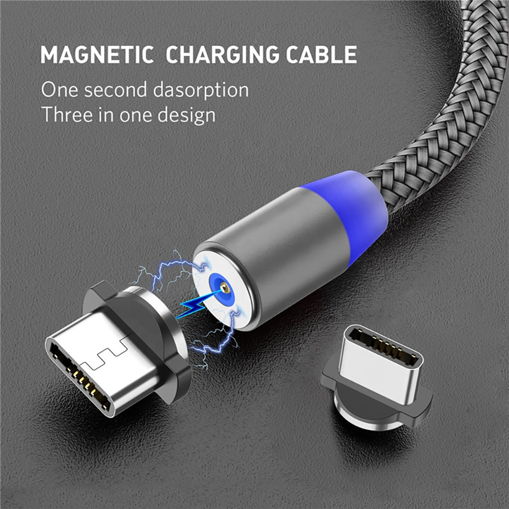 1M 2M Fast Charging Mobile Phone USB Cord Type C Cable Magnet Charger Data Charge Micro USB Cable Magnetic USB Cable