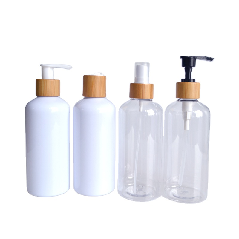 Empty 100ml 150ml 200ml 250ml 300ml 500ml PET clear white spray plastic bottle with gold silver lotion pump cap