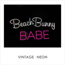 Strand Bunny Babe neon Ideaal home decor plastic maan sign shaped warm wit eye-care LED neon licht met OEM service