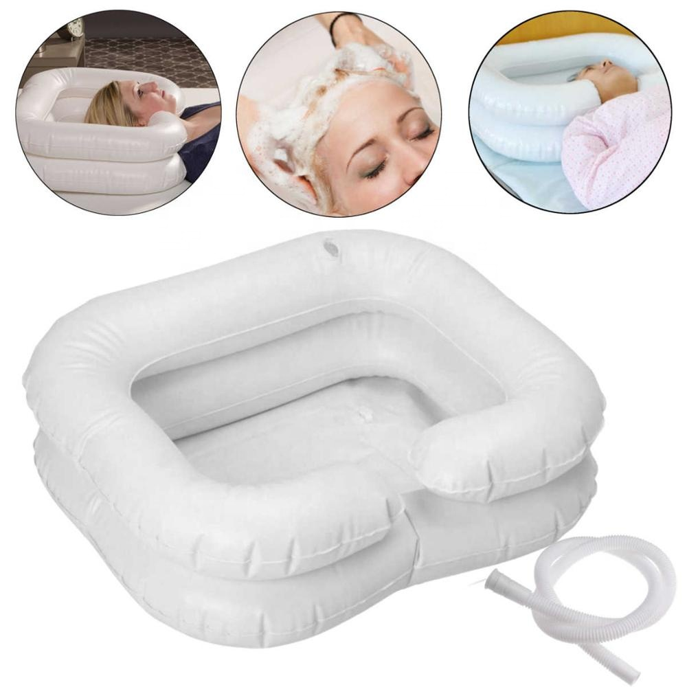 PVC white inflatable portable wash hair basin for patient