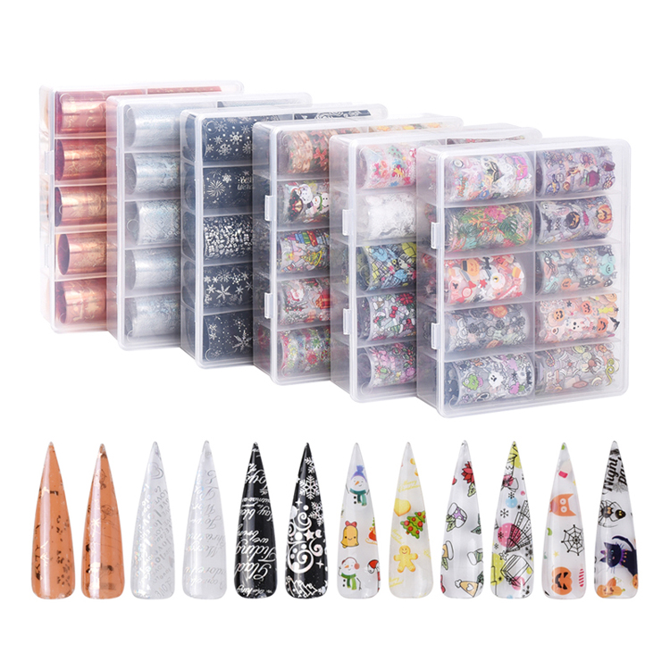 80*4cm 10 rolls/box new halloween christmas style patterns nail decals stickers christmas transfer foil nail art stickers