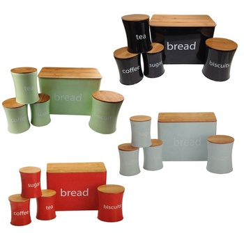 Bread/Biscuits/Tea/Coffee/Sugar Canister Set
