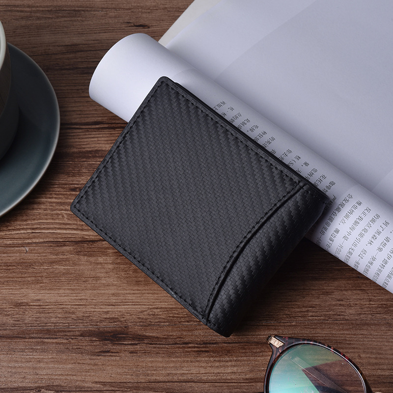 JINBAOLAI 2019 New Style Short Section Carbon Fiber Genuine Leather RFID blocked Protected Wallet For Men,Male Coin Purse