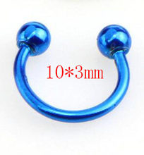 2 шт красочные стальные кольца для перегородки носа, кольца для пирсинга, ювелирные изделия для пирсинга, 3 размера, 6 мм, 8 мм, 10 мм(China)