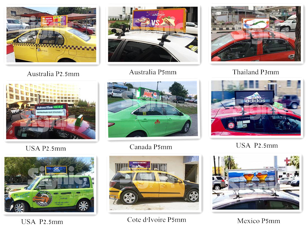 HD Digital Billboard Truck Car Taxi Roof Signs Full Color Led Message Board