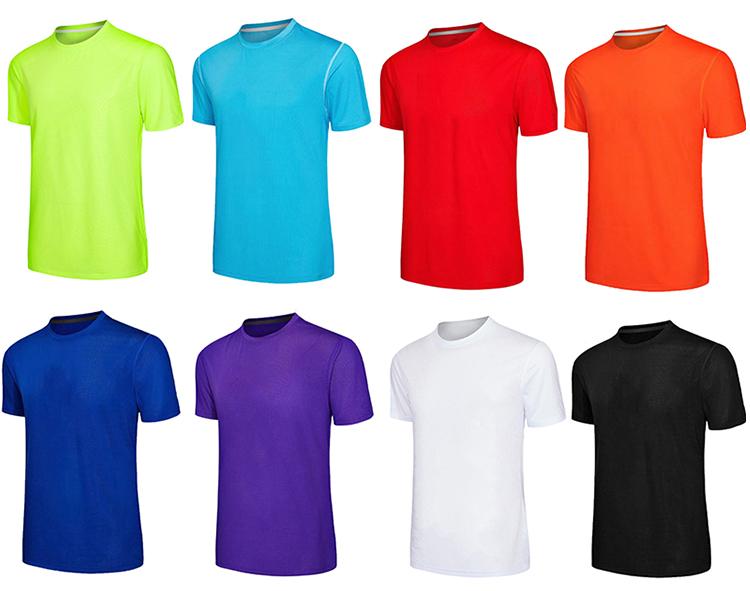 Ngoài trời bodybuild slim fit breathable polyester khô tùy chỉnh phù hợp với phòng tập thể dục trống người đàn ông da cam thể thao t áo sơ mi
