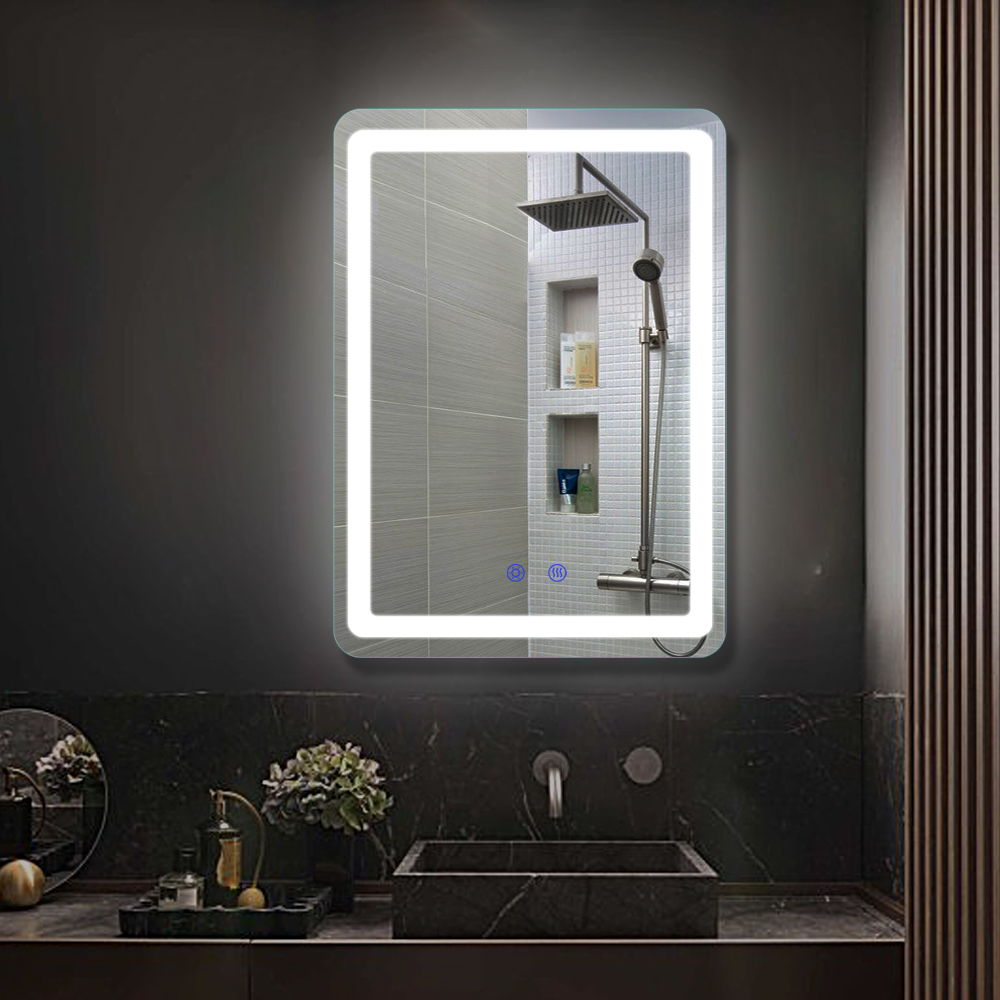 Hotel Smart Frameless Touch Screen Dimmer Lights Contemporary Bathroom Led Backlit Mirror