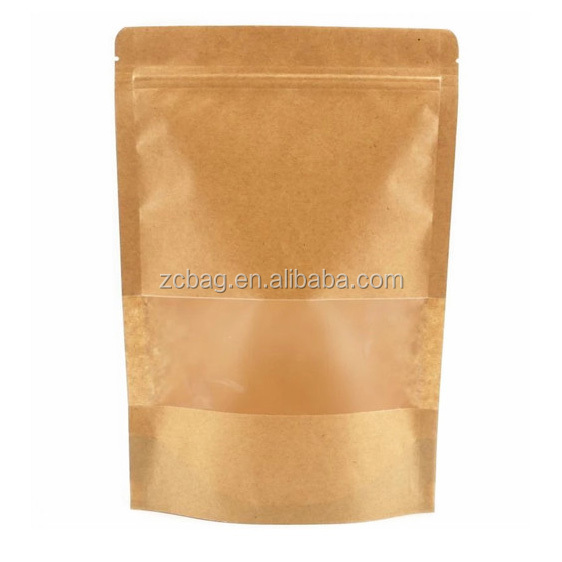 Kraft Paper Plastic <strong>PE</strong> Inside Moistureproof Pouch Doypack with Clear Window Storage Cashew Nut Packaging Food Pocket