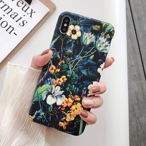 Retro Colorful Flowers Phone Case For iphone XR XS Max X 6 6S 7 8 Plus 11 11Pro Max Leaf Matte Soft Art floral Back Cover