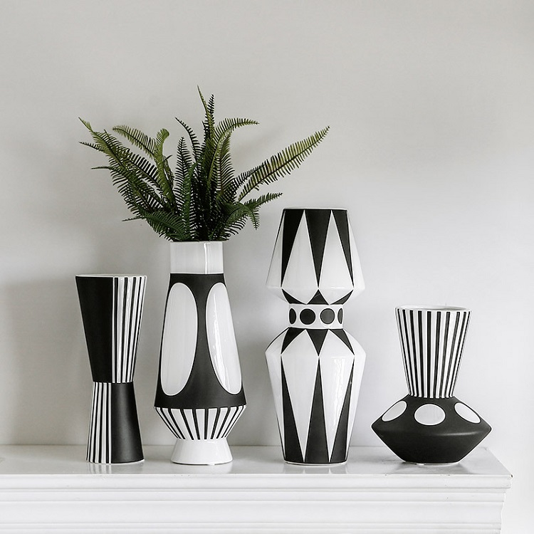 Hand Painted Modern White Black Nordic Mosaic Geometric Large Floor Ceramic Flower Bud  Vase for Home Decor Wedding Centerpieces
