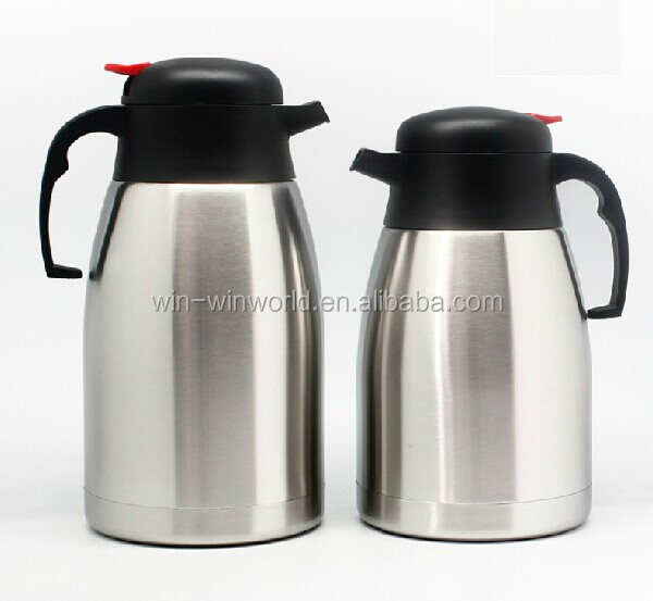 Red, 1L Vacuum Jug 304 Stainless Steel Double-Wall Thermal Carafe Coffee Pot Anti-Leakage Anti-Splashing Juice Milk Tea Pot Insulation