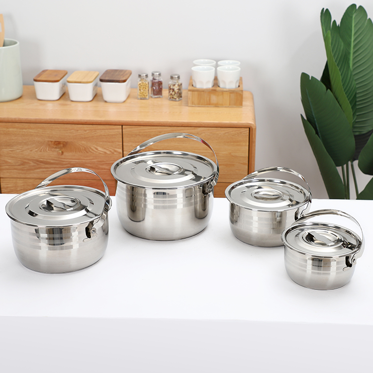 China factory direct sale kitchen cookware 4 piece stainless steel stock pot with handle