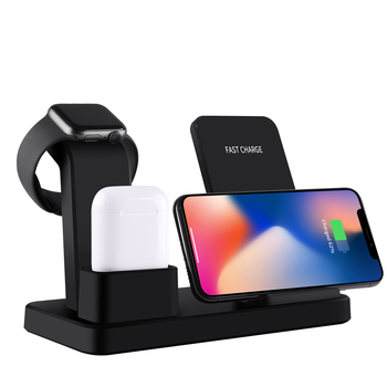 new product ideas 2019 innovative Phone Stand 3 in 1 Silicone Dock Holder for smart Watch Series 1/2/3/4 for all qi enabled \