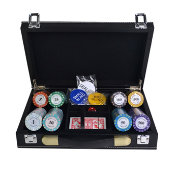 Crown jambing casino chips 200 pcs clay casino royale poker chips set with leather suitcase