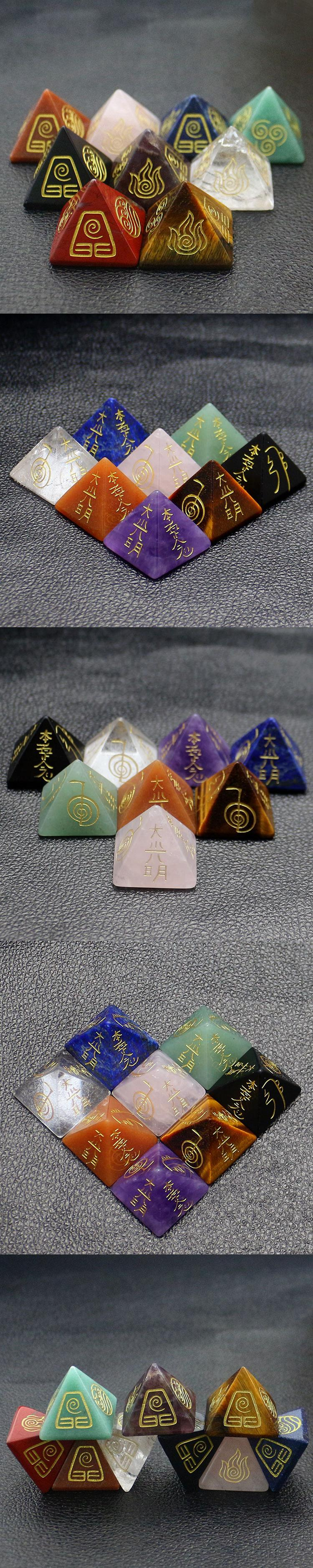 Feng Shui Stone Engraved Symbol Quartz Natural Crystal Chakra Reiki Healing Gemstone pyramid Crystals Stone