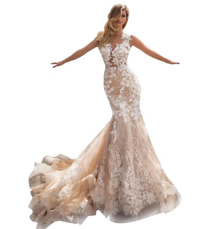 2020 क्रिस्टल डिजाइन शादी की पोशाक दुल्हन पजामा शैम्पेन प्रोम पोशाक मरमेड शादी की पोशाक
