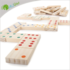 Domino Dominoes Games Set Domino Wooden Dominos YumuQ Classic Natural Jumbo Wooden Toppling Domino / Dominoes Games Set With Wooden Box For Kids Garden Lawn Games