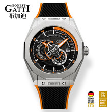 Автоматические механические часы для мужчин Лидирующий бренд GATTI роскошные кожаные мужские наручные часы водонепроницаемые спортивные си...(Китай)