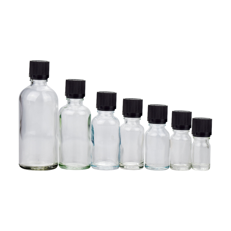 Hot sale 30ml 50ml 100ml clear essential oil glass bottle with screw cap