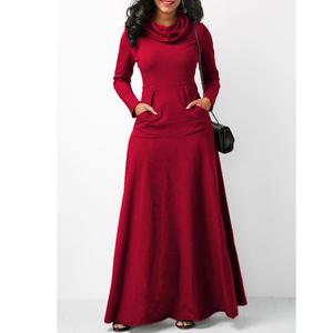 Wholesale Women Winter Long Sleeve High Neck Pocket Slim Knit Dress