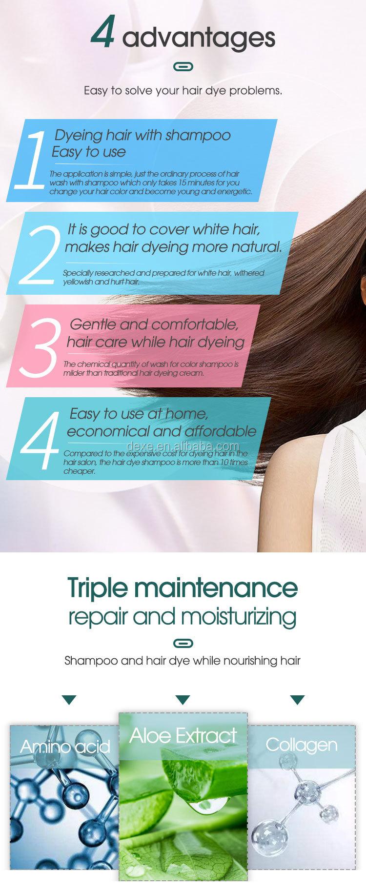 Professional India Henna Black Color Hair Dye Shampoo For Grey Hair