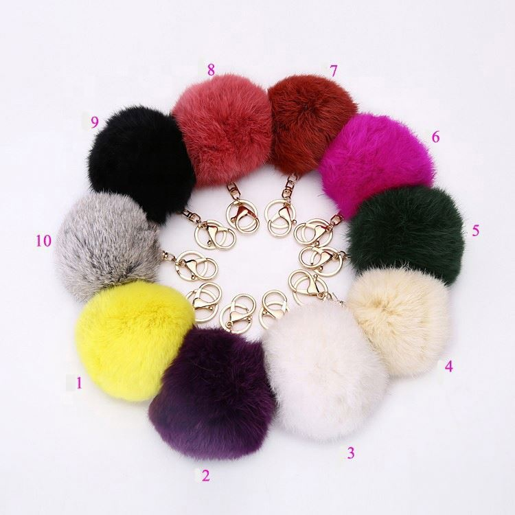 Pompom <strong>Ball</strong> Puff Furball Rabbit Fluffy Keychains Bag Key Ring Cute Luxury Bunny <strong>Fur</strong> Pom Pom <strong>Keychain</strong>