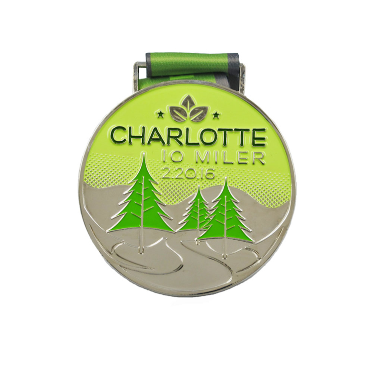 Round shape charlotte theme 10 miler 10k custom school sports event medals