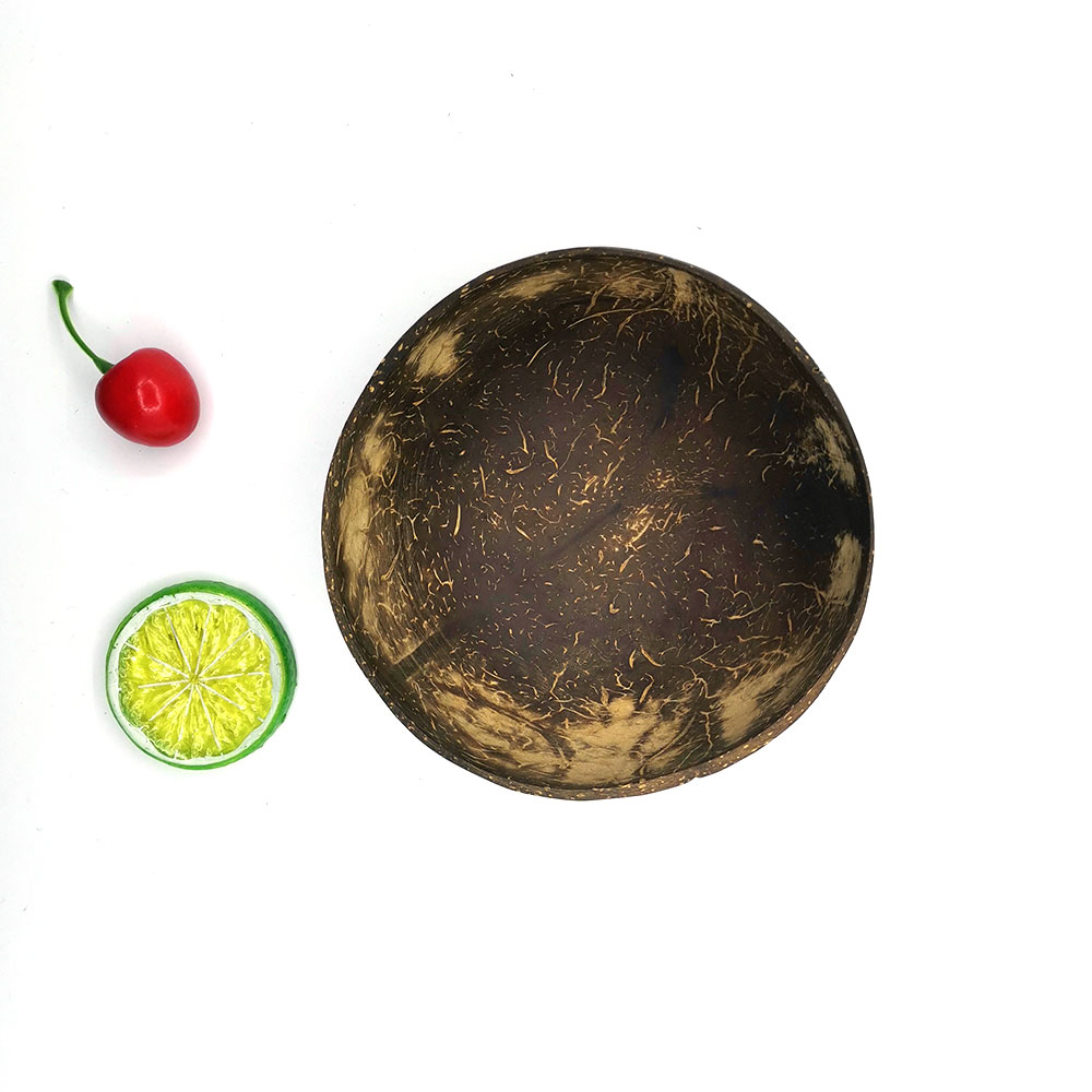 Fancy Wholesale Natural Coconut Shell Bowl with 16CM Wood Handmade Spoon OEM LOGO Coconut Smoothie Bowl