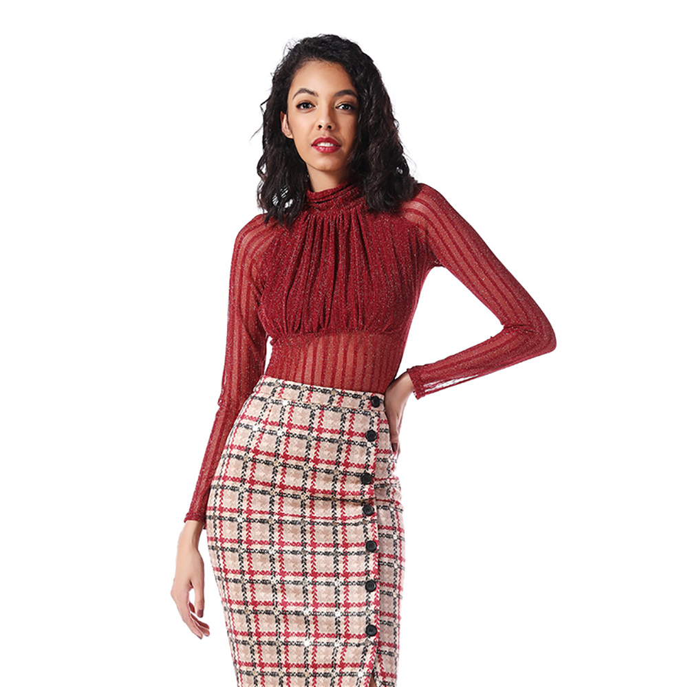 Hot Sale Long Sleeve Sexy Ruffled Off-shoulder Crop Top Waist Chiffon OEM Blouse